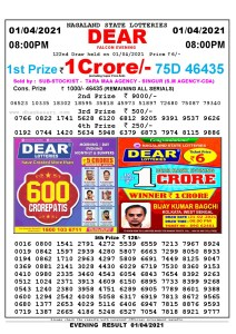 Lottery Sambad Live Result 8pm 01/04/2021 Evening Nagaland State Lottery Result Pdf Download