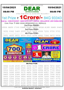 Lottery Sambad Live Result 8pm 10/04/2021 Evening Nagaland State Lottery Result Pdf Download
