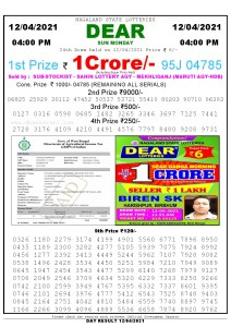 Lottery Sambad Live today 4pm 12/04/2021 Nagaland State Lottery Result Pdf File Download