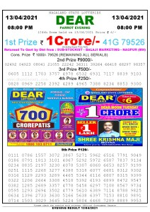 Lottery Sambad Live Result 8pm 13/04/2021 Evening Nagaland State Lottery Result Pdf Download