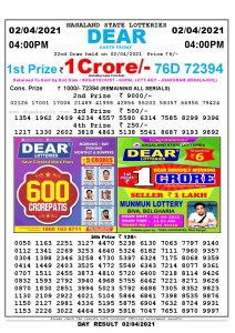 Lottery Sambad Live today 4pm 02/04/2021 Nagaland State Lottery Result Pdf File Download