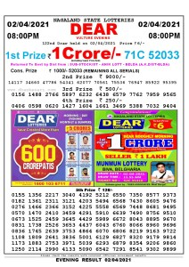 Lottery Sambad Live Result 8pm 02/04/2021 Evening Nagaland State Lottery Result Pdf Download
