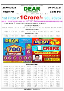 Lottery Sambad Live today 4pm 20/04/2021 Nagaland State Lottery Result Pdf File Download