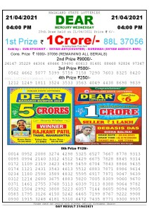 Lottery Sambad Live today 4pm 21/04/2021 Nagaland State Lottery Result Pdf File Download