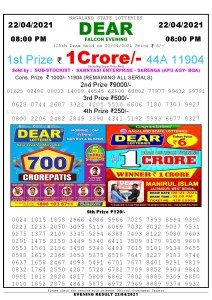 Lottery Sambad Live Result 8pm 22/04/2021 Evening Nagaland State Lottery Result Pdf Download