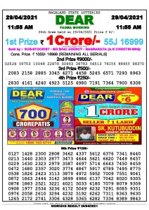 Sambad 11:55 am 29/04/2021 Morning Sikkim State Lottery Result Pdf Download