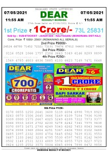 Sambad 11:55 am 07/05/2021 Morning Sikkim State Lottery Result Pdf Download