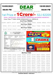 Lottery Sambad Live Result 8pm 10/05/2021 Evening Nagaland State Lottery Result Pdf Download
