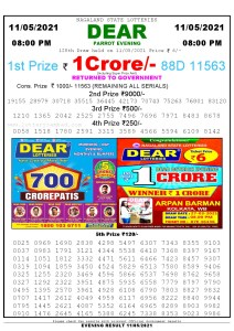 Lottery Sambad Live Result 8pm 11/05/2021 Evening Nagaland State Lottery Result Pdf Download
