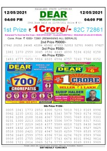 Lottery Sambad Live today 4pm 12/05/2021 Nagaland State Lottery Result Pdf File Download