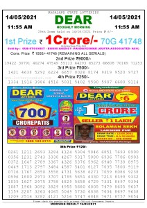 Sambad 11:55 am 14/05/2021 Morning Sikkim State Lottery Result Pdf Download