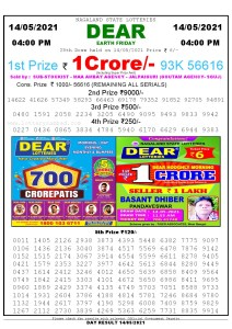 Lottery Sambad Live today 4pm 14/05/2021 Nagaland State Lottery Result Pdf File Download