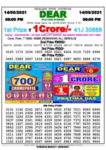 Lottery Sambad Live Result 8pm 14/05/2021 Evening Nagaland State Lottery Result Pdf Download