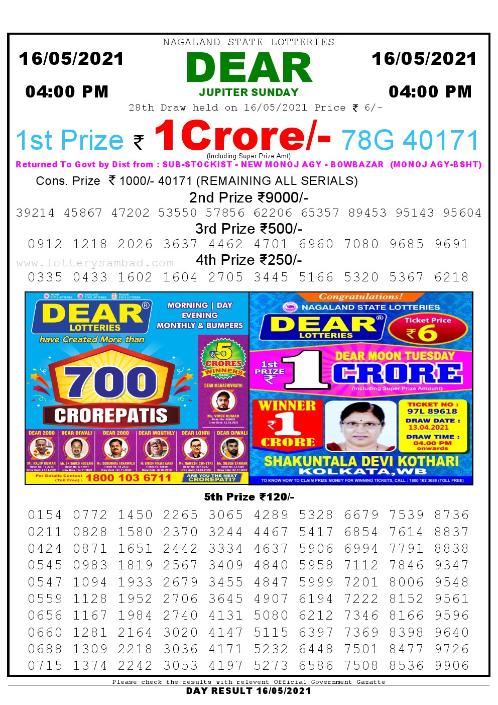 Lottery Sambad Live today 4pm 16/05/2021 Nagaland State Lottery Result Pdf File Download