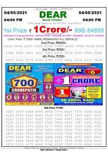 Lottery Sambad Live today 4pm 04/05/2021 Nagaland State Lottery Result Pdf File Download