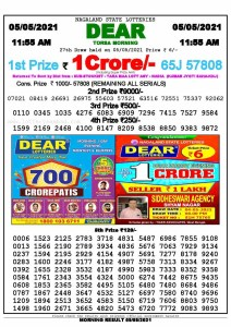 Sambad 11:55 am 05/05/2021 Morning Sikkim State Lottery Result Pdf Download