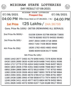 Mizoram State Lottery Result (07.06.2021) Out now 04:00 pm pdf download