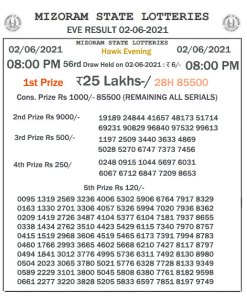 Mizoram State Lottery Result (02.06.2021) Out now 08:00 pm pdf download