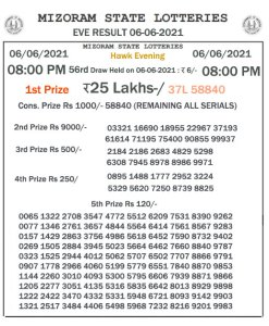 Mizoram State Lottery Result (06.06.2021) Out now 08:00 pm pdf download