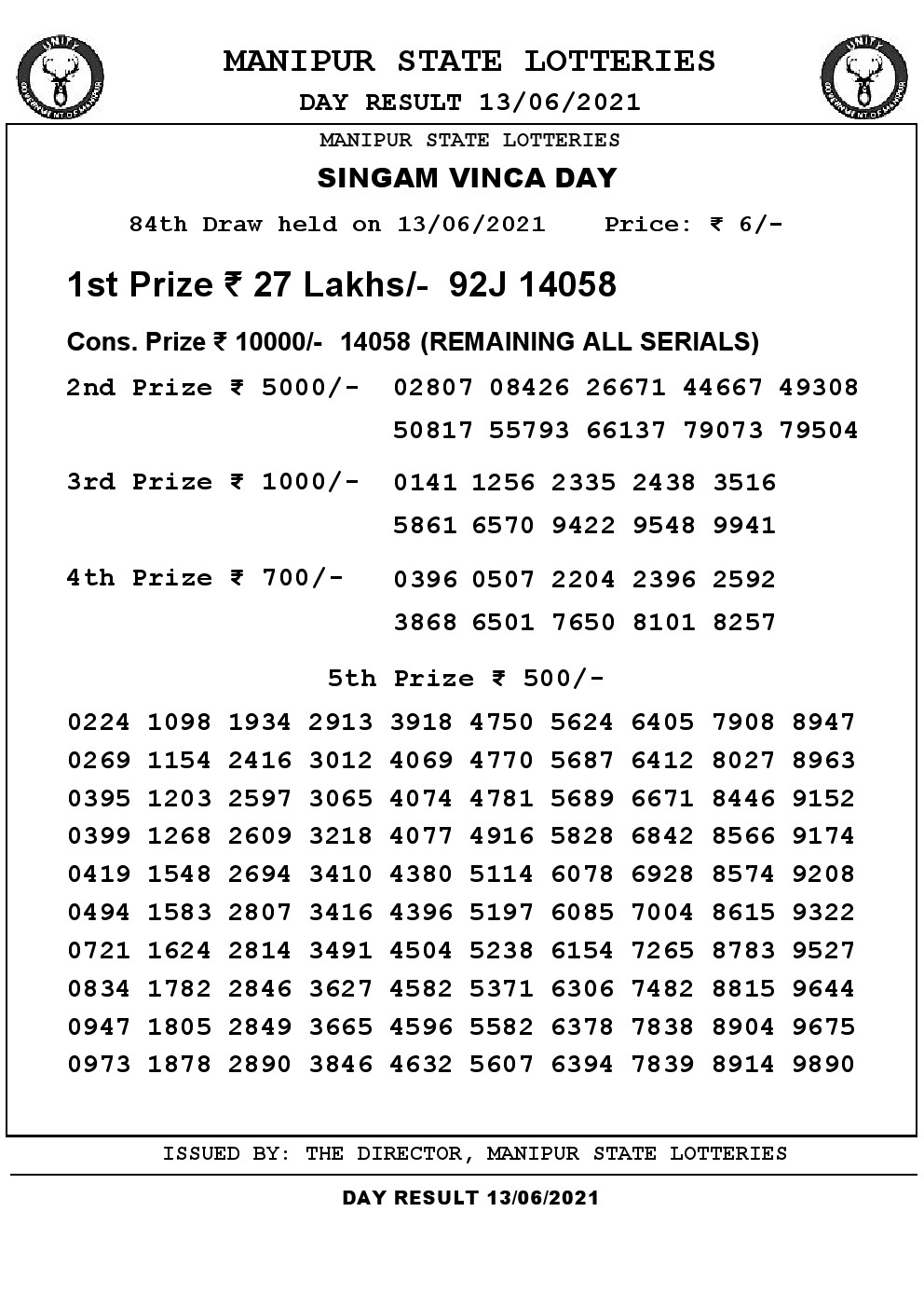 Manipur State Lottery Result (13.06.2021) Out now 03 pm pdf download