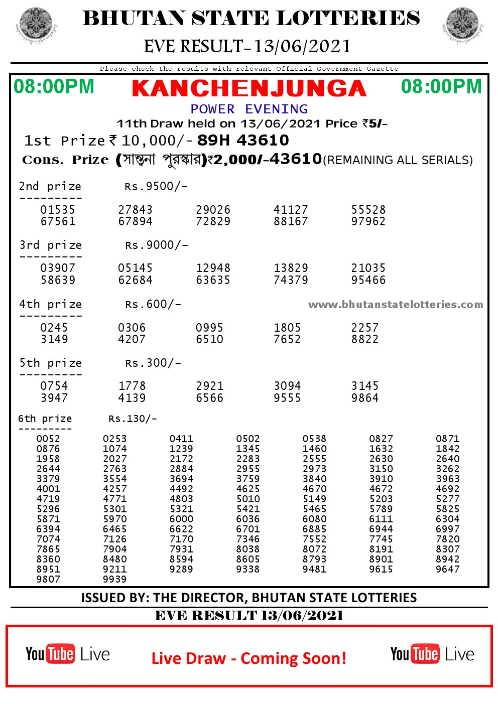 Bhutan Lottery Result 13.6.2021 Today evening 8pm PDF download
