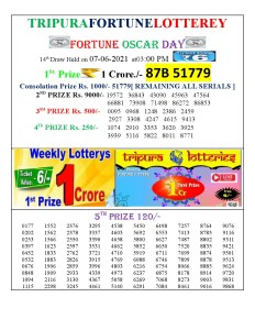 Tripura Lottery Result 07.06.2021 Today 3 PM Result Pdf Download