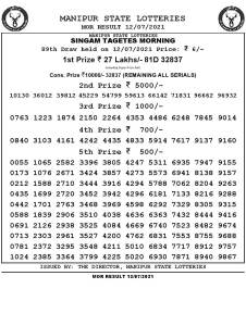 Manipur State Lottery Result (12.07.2021) Out now 11:00 AM pdf download