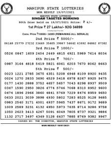 Manipur State Lottery Result (19.07.2021) Out now 11:00 AM pdf download
