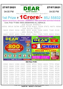 Lottery Sambad Live today 4pm 27/07/2021 Nagaland State Lottery Result Pdf File Download