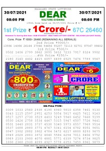 Lottery Sambad Live Result 8pm 30/07/2021 Evening Nagaland State Lottery Result Pdf Download