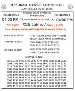 Mizoram State Lottery Result (09.08.2021) Out now 04:00 pm pdf download