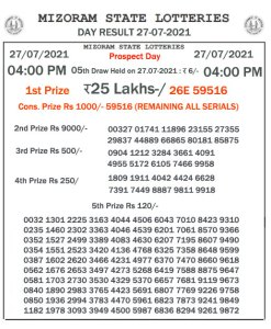 Mizoram State Lottery Result (27.07.2021) Out now 04:00 pm pdf download