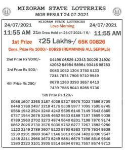 Mizoram State Lottery Result (24.07.2021) Out now 11:55 AM Morning Result pdf download