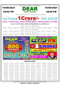 Lottery Sambad Live Result 8pm 10/08/2021 Evening Nagaland State Lottery Result Pdf Download