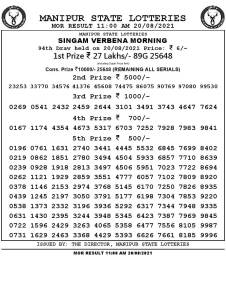 Manipur State Lottery Result (20.08.2021) Out now 11:00 AM pdf download