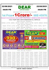 Lottery Sambad Live today 4pm 22/08/2021 Nagaland State Lottery Result Pdf File Download