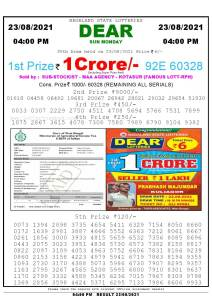 Lottery Sambad Live today 4pm 23/08/2021 Nagaland State Lottery Result Pdf File Download