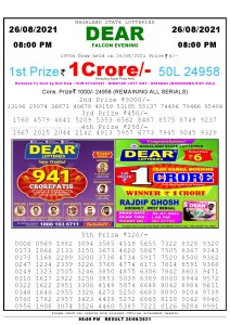 Lottery Sambad Live Result 8pm 26/08/2021 Evening Nagaland State Lottery Result Pdf Download