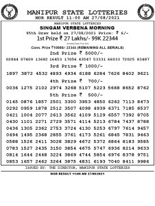 Manipur State Lottery Result (27.08.2021) Out now 11:00 AM pdf download