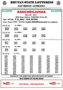 Bhutan Lottery Result 10.8.2021 Today 4pm PDF download