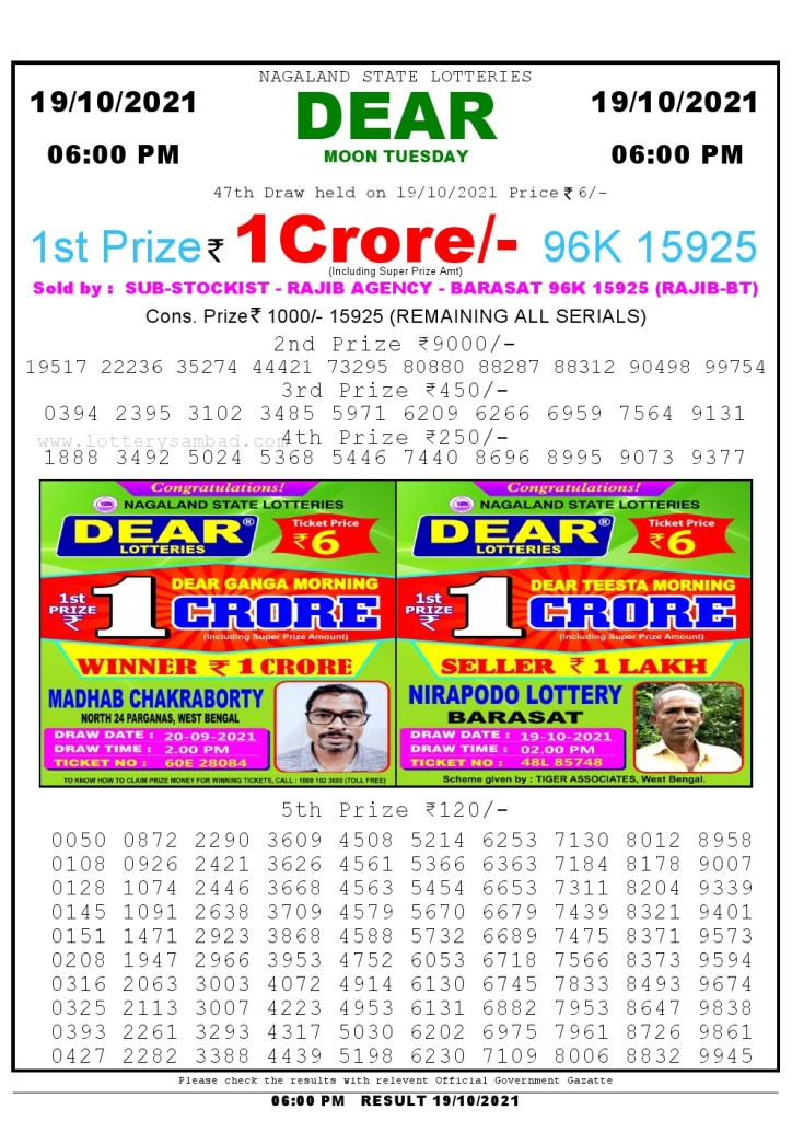 Lottery Sambad Live Result 6pm 19/10/2021 day Nagaland State Lottery Result Pdf Download