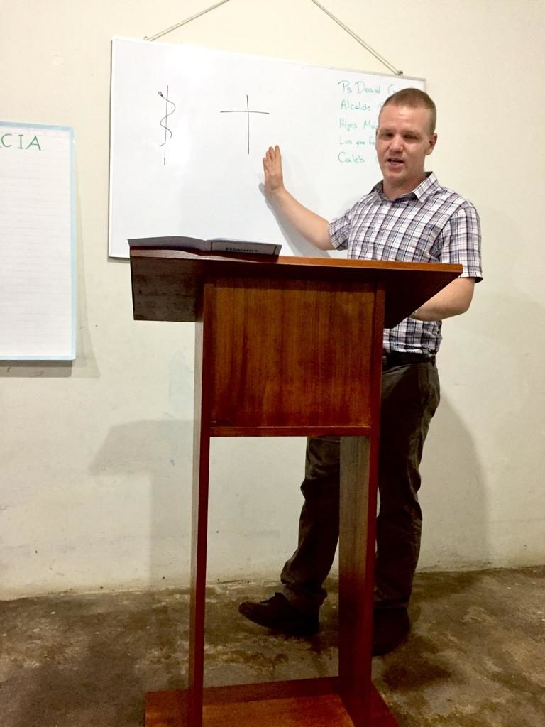 preaching at church plant in Vitoc