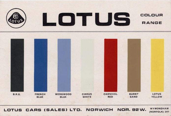 1967 Lotus color chart