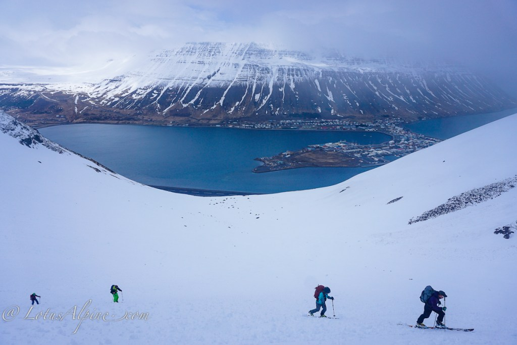 Skiing directly above the fishing village of Isafjordur in the Westfjords region of Iceland