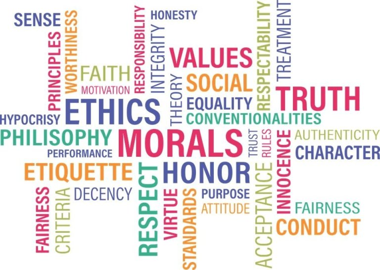 values morals ethics honor respect graphic box