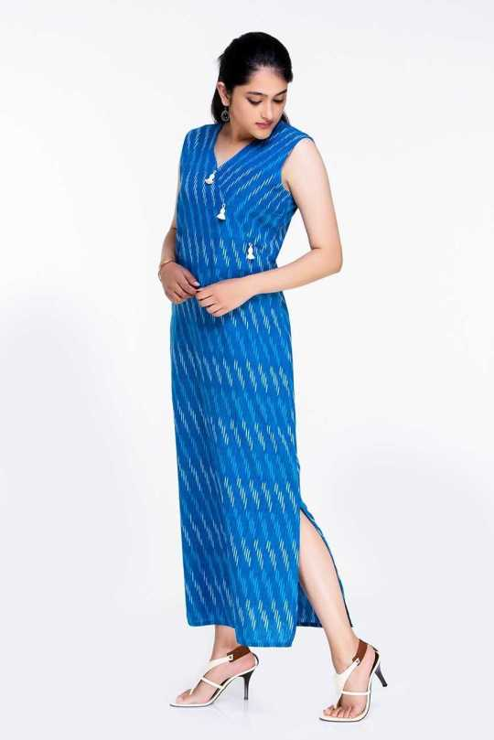Blue Ikat Long Dress