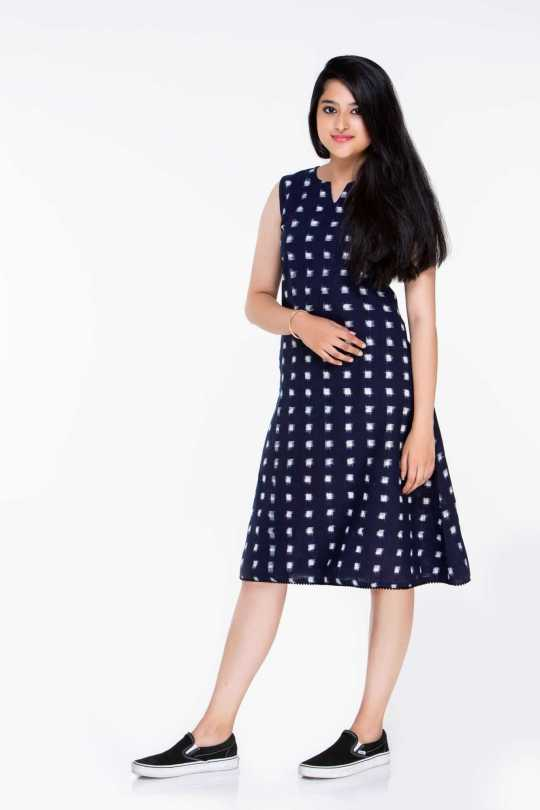 Navy Blue Ikat Dress