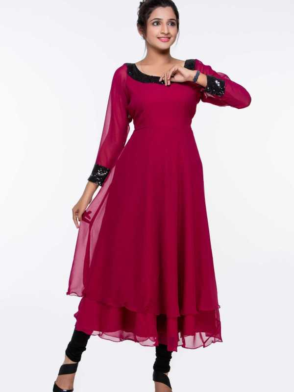 Maroon Georgette Sequinned Tunic
