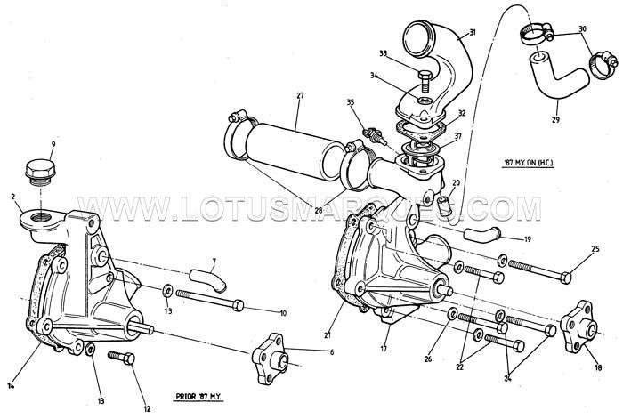Lotus Esprit S3 water pump parts and hoses