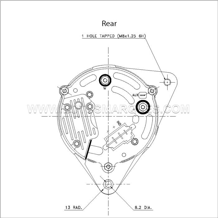 Lucas 12V 65A alternator engineering drawings and dimensions